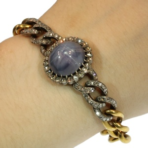 Star sapphire link bracelet by Leon Gariod, fine antique jewelry